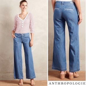 ANTHROPOLOGIE | PILCRO WIDE LEG CHAMBRAY JEANS